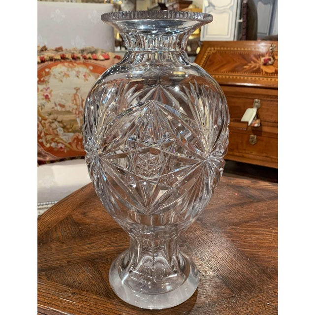 Decorate a console table or buffet with this elegant tall vase. Crafted in France circa 1970, the large luxurious cut...