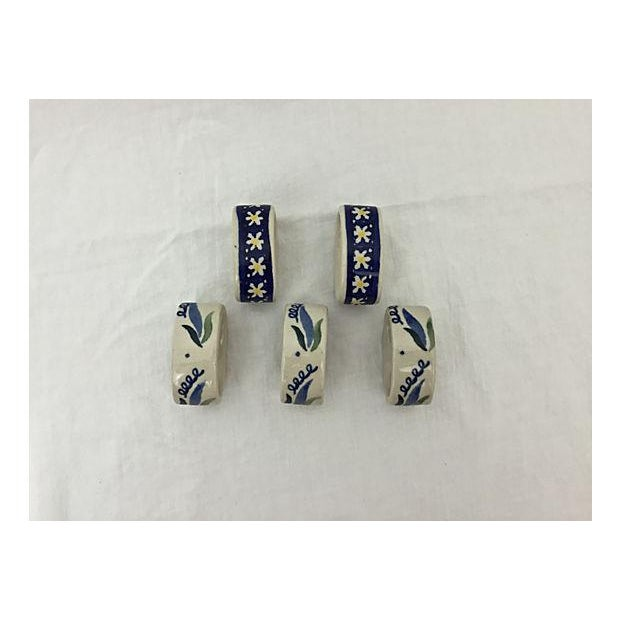 Hand-Painted Porcelain Napkin Rings - Set of 5 - Image 4 of 8