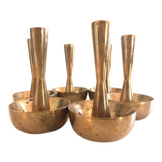 Solid Brass Danish Scandinavian Sculptural Candlesticks--Set of 6 For Sale
