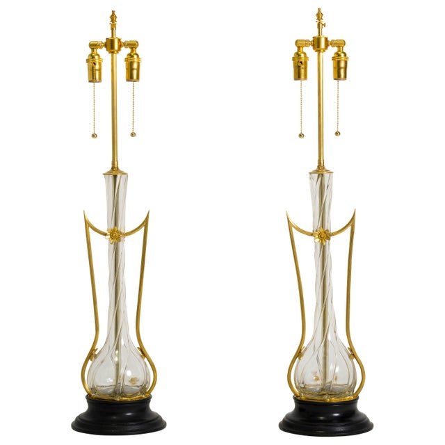 Gold Art Nouveau Brass and Art Glass Lamps - a Pair For Sale - Image 8 of 8