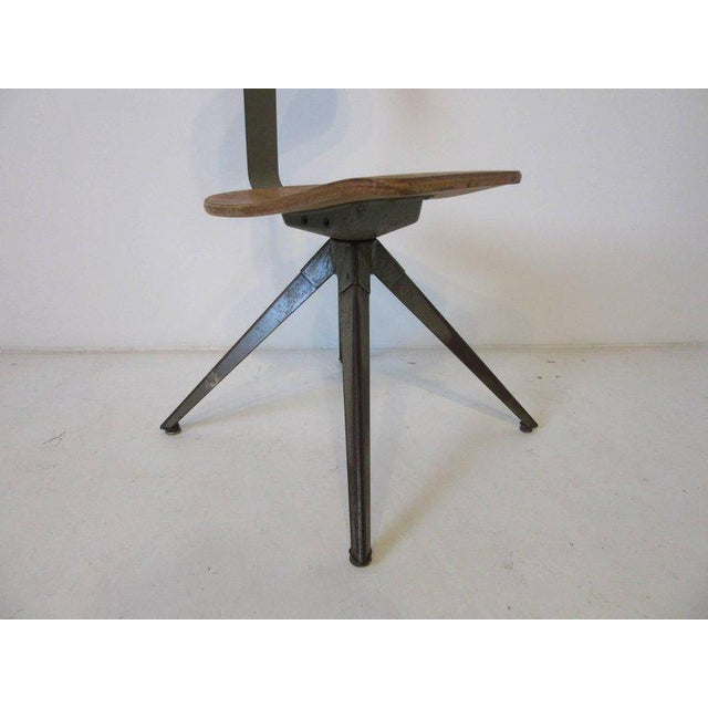 Splayed Leg Industrial Desk Chair in the Style of Prouve or Olsen For Sale - Image 4 of 6