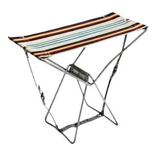 Vintage Metal Frame Folding Camp Stool For Sale