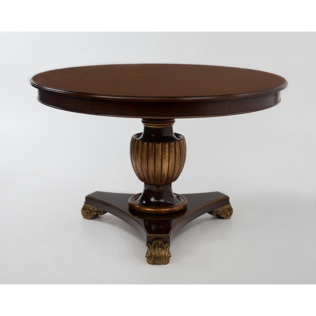 Italian Center Table Pedestal Base Inlaid Mahogany Burl Gilt Italy 1970s For Sale - Image 13 of 13