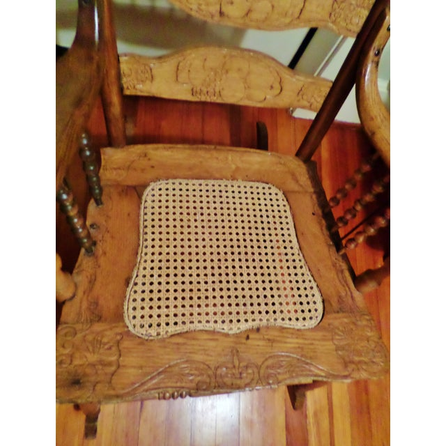 Late 20th Century Antique Golden Oak Rocking Chair For Sale - Image 9 of 13