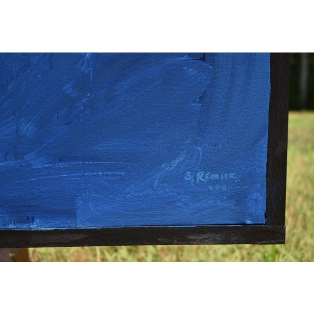 "Blue Modern ""Wood Thrush Serenade"" Large Abstract Painting by Stephen Remick For Sale - Image 8 of 12"
