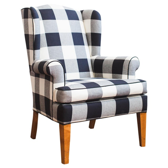 Black Amp White Buffalo Check Wingback Chair Chairish