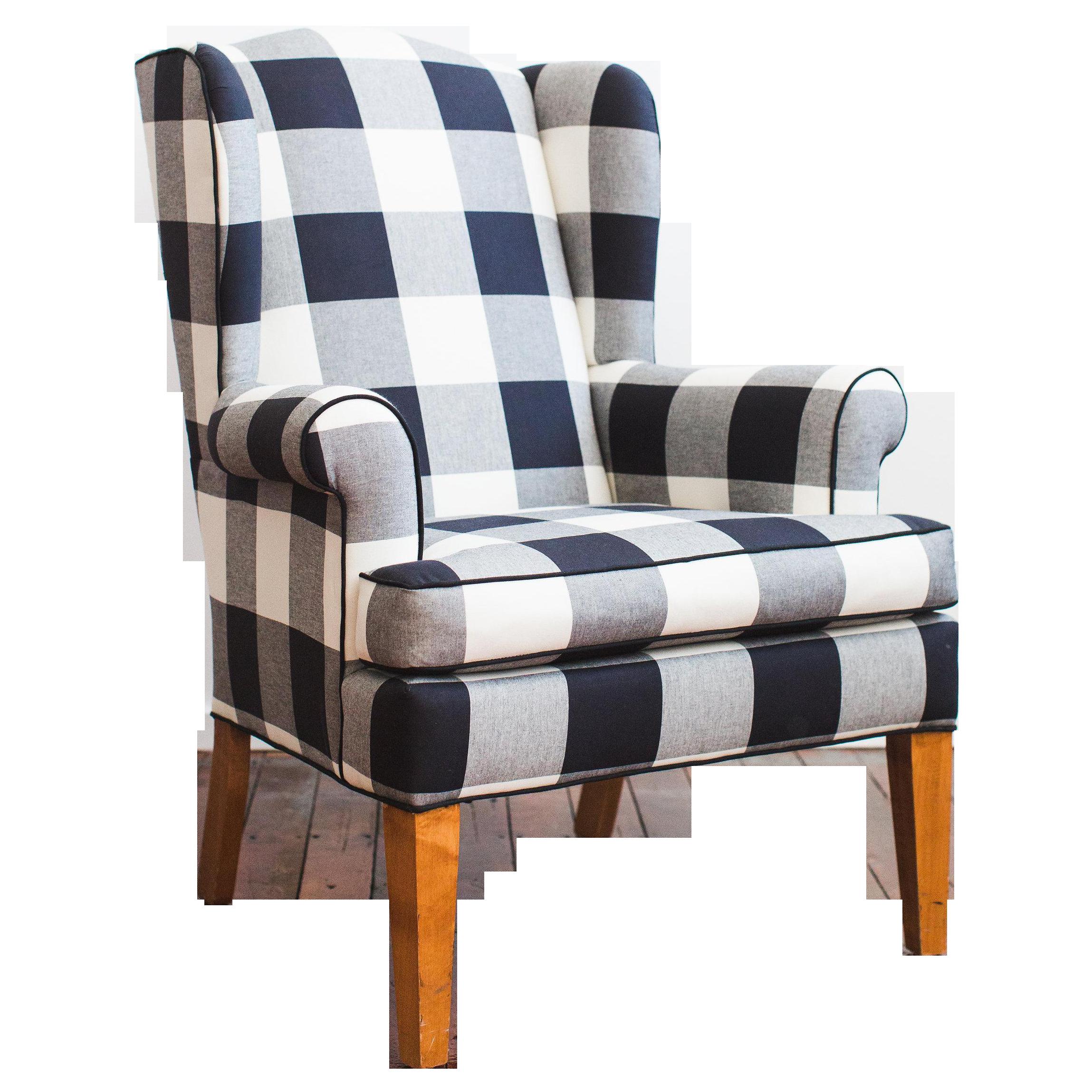Superieur Black U0026 White Buffalo Check Wingback Chair