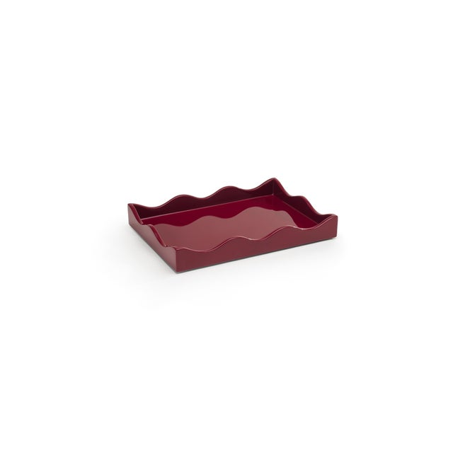 The Lacquer Company Rita Konig Collection Small Belles Rives Tray in Bordeaux Red For Sale - Image 4 of 4