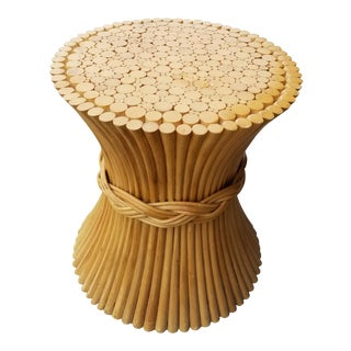 20th Century Hollywood Regency Sheaf of Wheat Bamboo Rattan Center Table For Sale