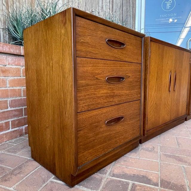 Henredon Henredon 'Circa 60' Walnut Cabinets - Set of 3 For Sale - Image 4 of 13