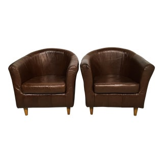 Art Deco Style Leather Club Chairs - A Pair