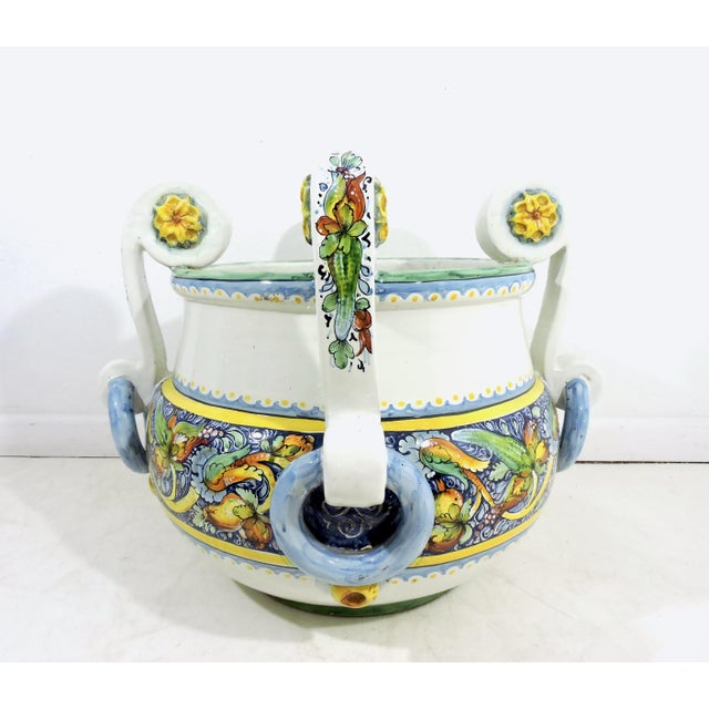 Late 20th Century Large Italian Caltagirone Ceramic Jardiniere or Planter For Sale - Image 5 of 10