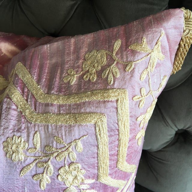 Silk Hand-Embroidered Dori Pillow Cover - Image 3 of 5