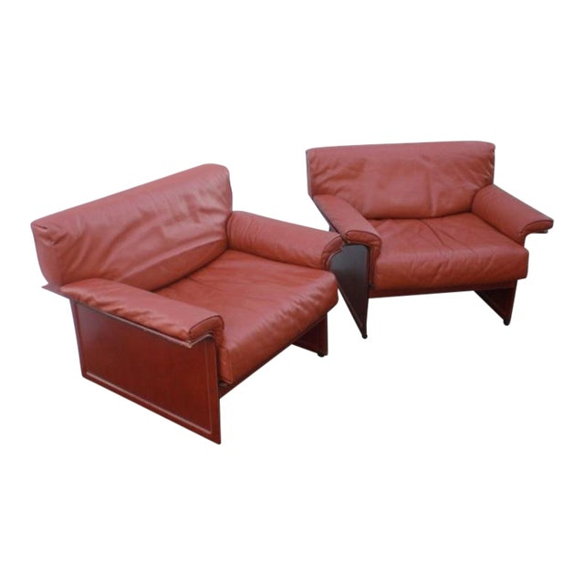 Leather Mid-Century Modern Club Chairs - A Pair For Sale