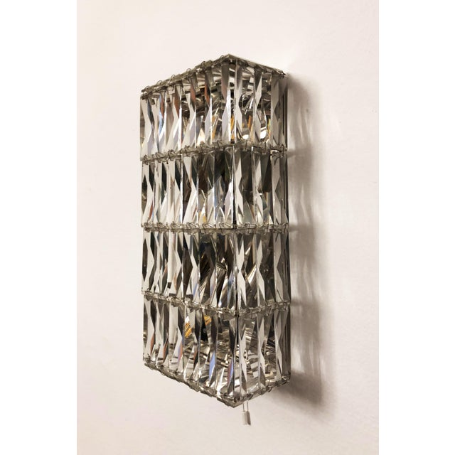 Mid-Century Modern Pair of Austrian Crystal Sconces by Bakalowits and Sohne For Sale - Image 3 of 11