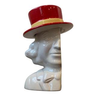White Glazed Ceramic Gentleman Bust W/ Red Hat Vase/Figurine For Sale