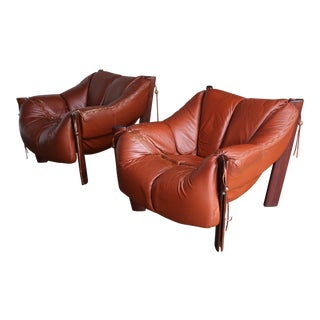 1970s Vintage Percival Lafer Rosewood and Leather Lounge Chairs- A Pair For Sale