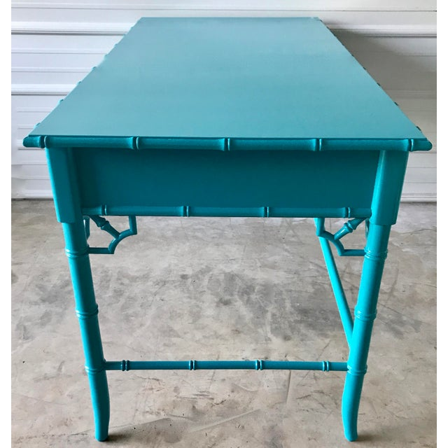 Thomasville Lacquered Faux Bamboo Desk For Sale In Chicago - Image 6 of 10