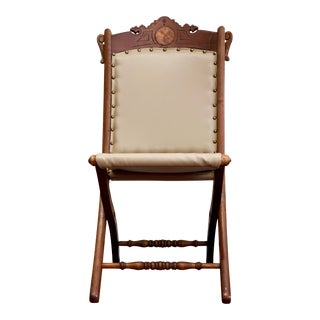 Antique Edwardian Campaign Folding Chair For Sale