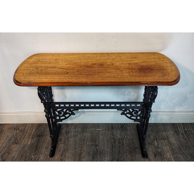 Metal 1900s Vintage French Iron and Walnut Bistro Table For Sale - Image 7 of 9