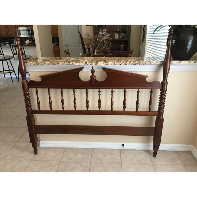 Pennsylvania House Pennsylvania House Chippendale Four Poster Solid Cherry Double Bed Frame For Sale - Image 4 of 5