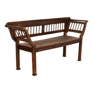 Antique Original Brown Painted Pine Bench For Sale