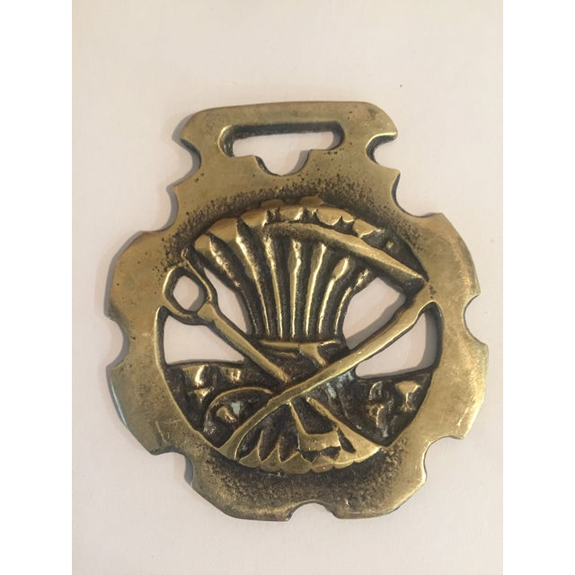 Mid-Century Modern Vintage Brass Equestrian Wheat Harness Ornament For Sale - Image 3 of 3