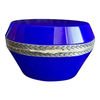 1930s French Cobalt Blue Opaline Glass Oval Shaped Trinket Box For Sale