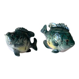 Vintage Japanese Green Fish Sugar and Creamer Set For Sale