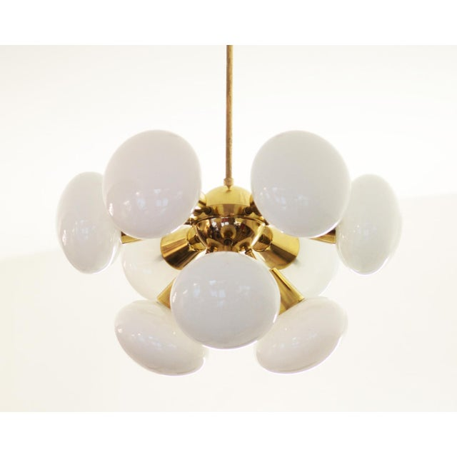 Mid-Century Sputnik Frosted Glass Chandelier, 1960s For Sale - Image 10 of 10