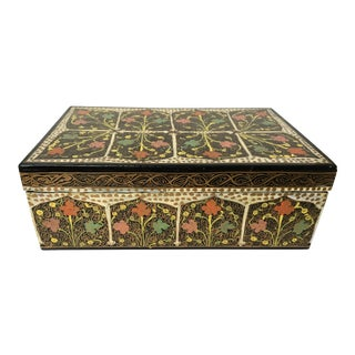Anglo-Indian Floral Designed Hand Painted Wooden Box For Sale