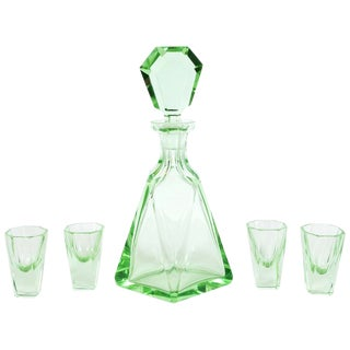 Art Deco Machine Age Czech Faceted Emerald Glass Decanter Set - 5 Pc. For Sale