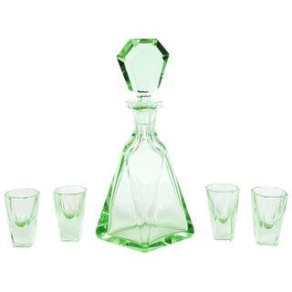 Art Deco Machine Age Czech Five-Piece Faceted Emerald Glass Decanter Set For Sale