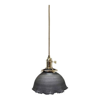 "Holophane 6"" Glass Shade Pendant Light For Sale"