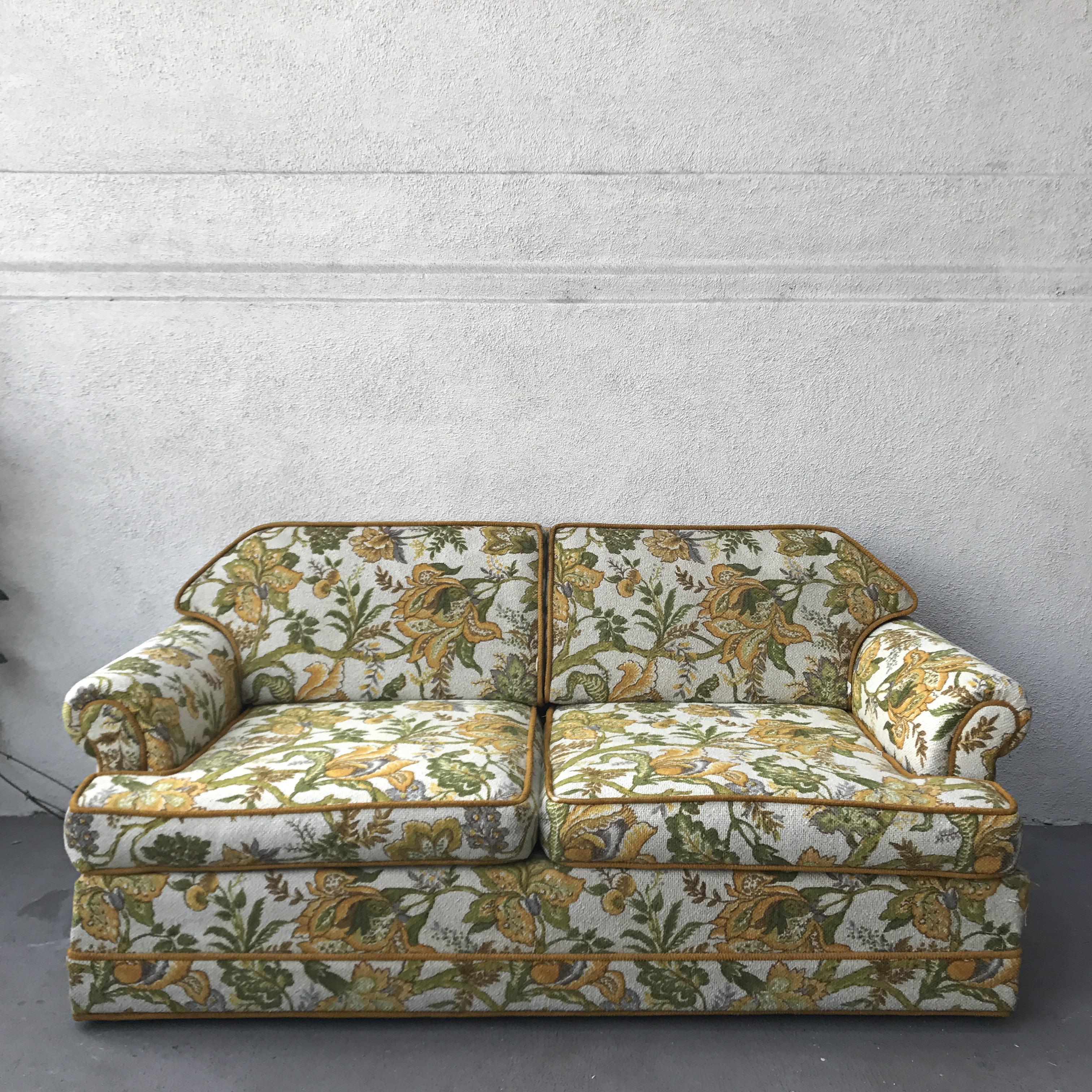 Vintage Mid Century Modern Upholstered Floral Sofa   Image 2 Of 8