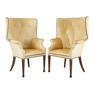 Pair of Modern English Georgian Style Tufted Leather Wingback Chairs For Sale
