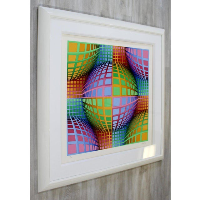 Victor Vasarely Mid-Century Modern Large Pop Op Art Framed Lithograph by Victor Vasarely 275/300 For Sale - Image 4 of 8