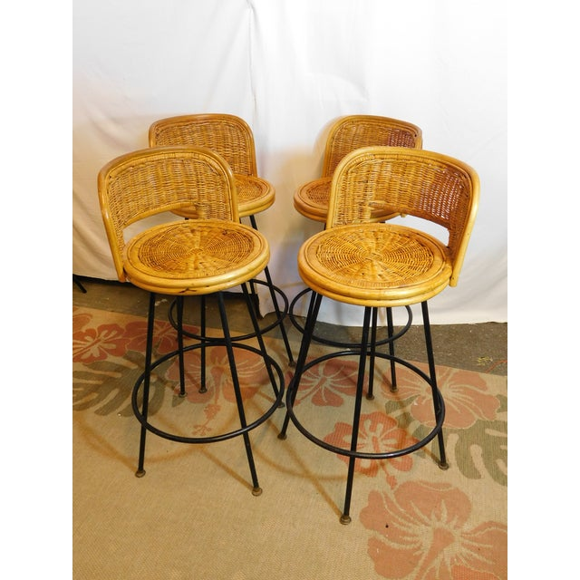 Mid-Century Wicker Bar Stools - Set of 4 - Image 8 of 8