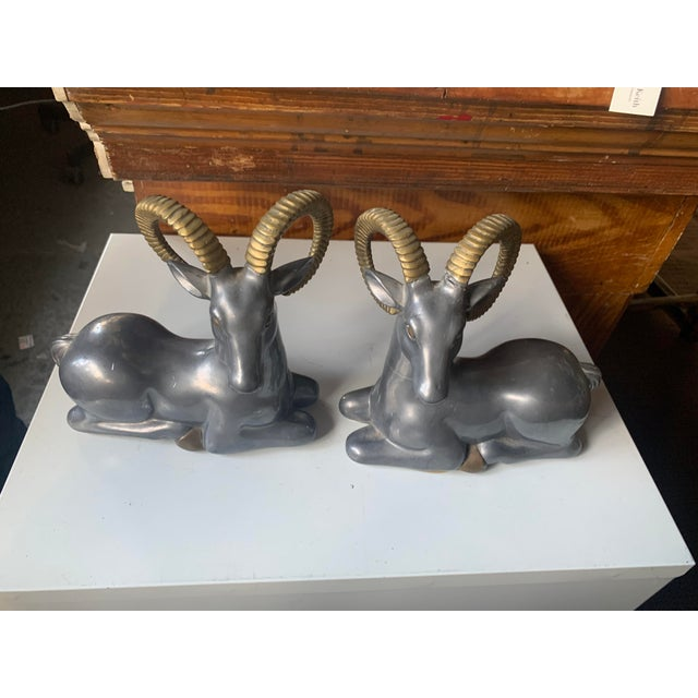 Mid-Century Modern 1960s Mid-Century Modern Ram Metal Bookends - a Pair For Sale - Image 3 of 3