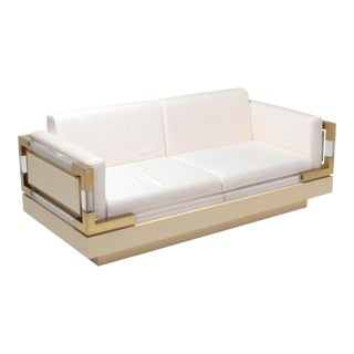 2.5-Seat by Charles Hollis Jones in Lucite, Lacquer and Brass For Sale