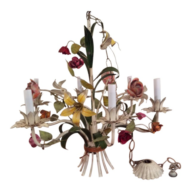 1950s French Multi Colored Flower Toleware 6 Light Chandelier For Sale