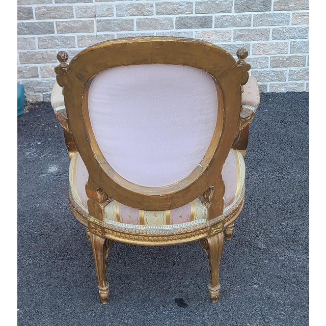 Gold Fine Early 19th Century French Louis XVI Style Gilded Parlor Armchair For Sale - Image 8 of 12