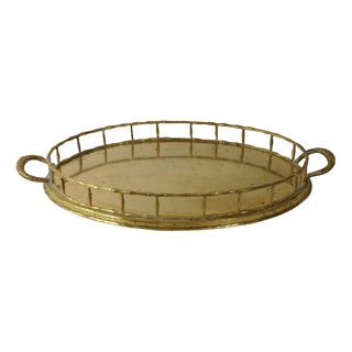 Hollywood Regency Brass Faux Bamboo Tray For Sale