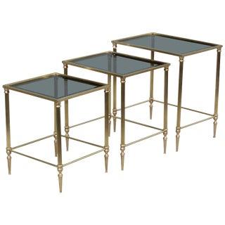 1950s Italian Brass Nesting Tables For Sale
