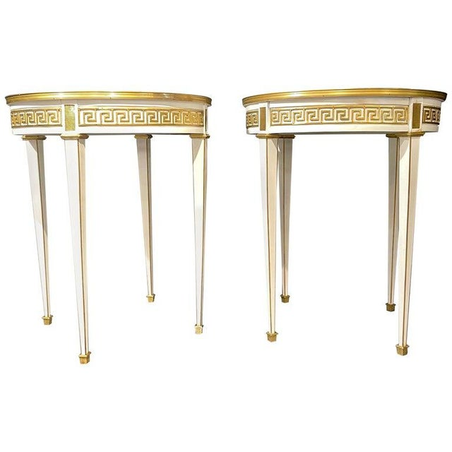 Maison Jansen Style Pair of Bouillotte / End Tables, Side Table or Pedestals For Sale - Image 12 of 12