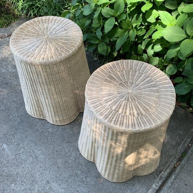 Country Trompe l'Oeil Round Top Draped Rattan Tables - a Pair For Sale - Image 3 of 12