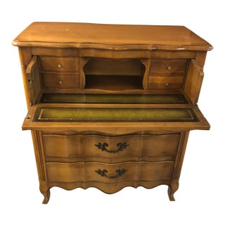 1960s French Provincial Leather and Wood Secretary Desk