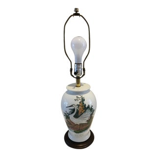 "Vintage Portmeirion ""Birds of Britain"" Little Egret Table Lamp For Sale"