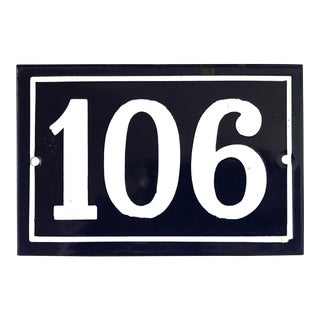Mid 20th Century Vintage French Enamel House Number Plaque 106 For Sale