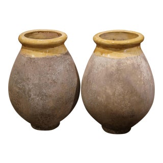 Pair of French Terracotta and Yellow Glazed Olive Jars From Provence For Sale